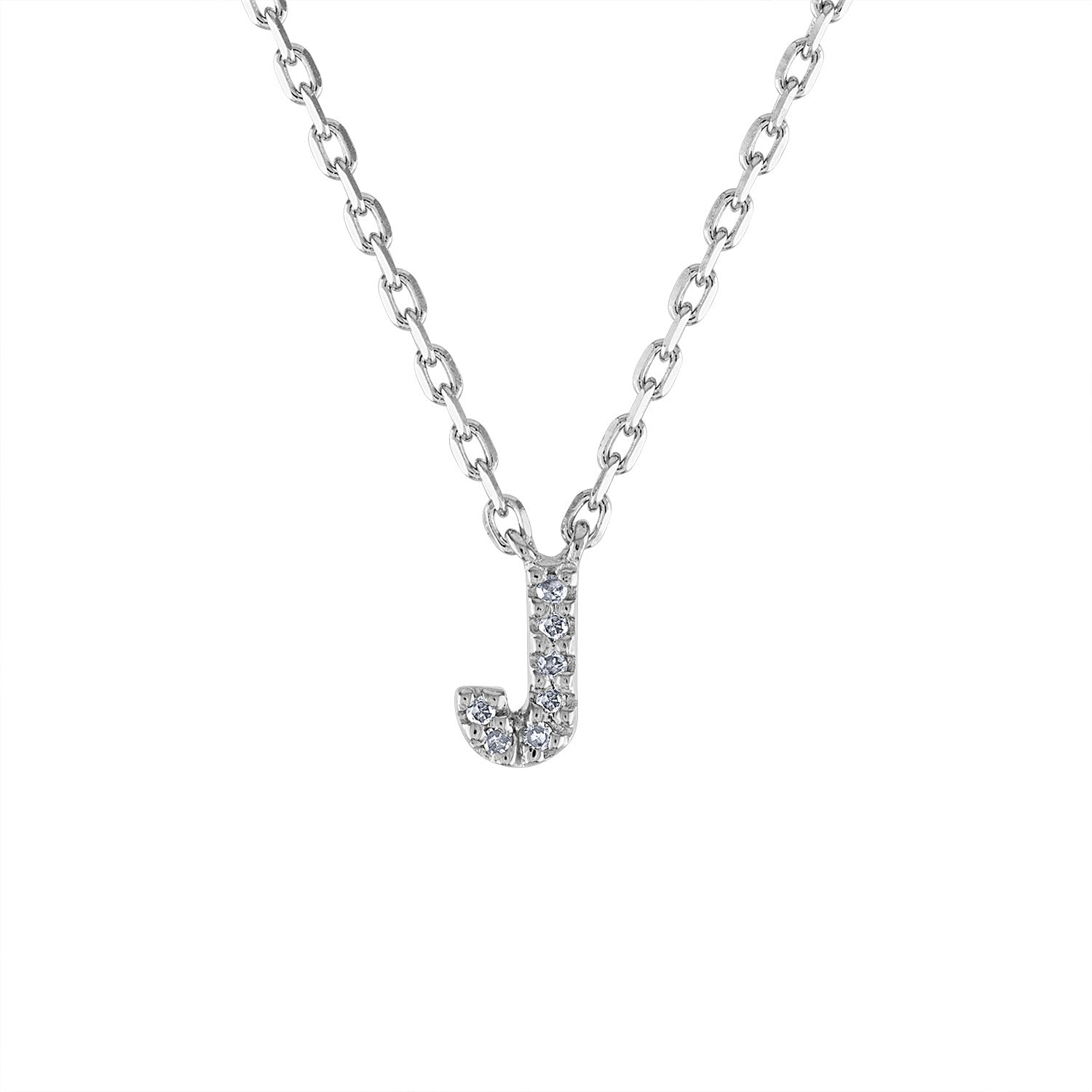 Sterling Silver diamond mini J initial necklace