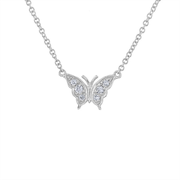 14KT GOLD DIAMOND BUTTERFLY NECKLACE
