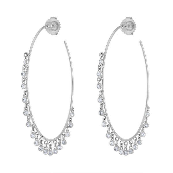 14k White Gold diamond multi bezel dangle hoop earring