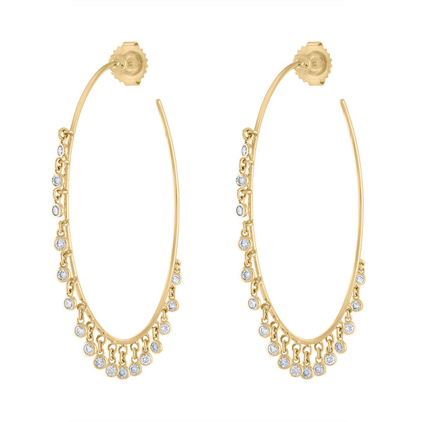 14k Yellow Gold diamond multi bezel dangle hoop earring
