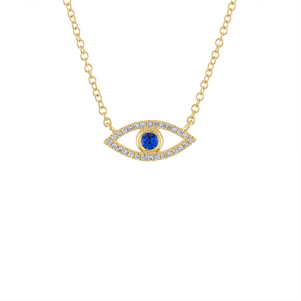 14KT GOLD DIAMOND EVIL EYE NECKLACE