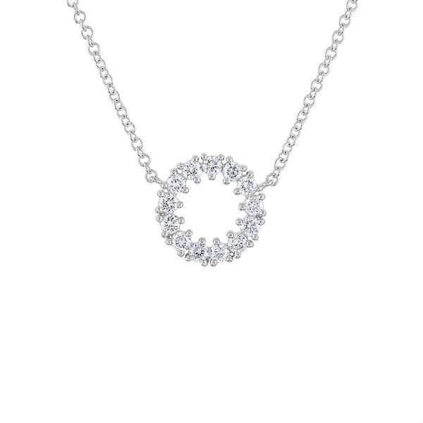 14KT GOLD PRONG SET DIAMOND OPEN CIRCLE NECKLACE