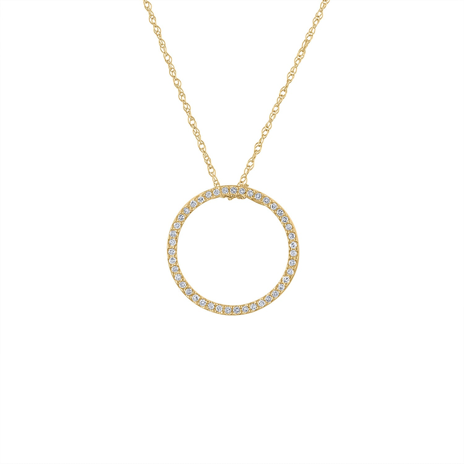 14KT GOLD MEDIUM DIAMOND OPEN CIRCLE NECKLACE