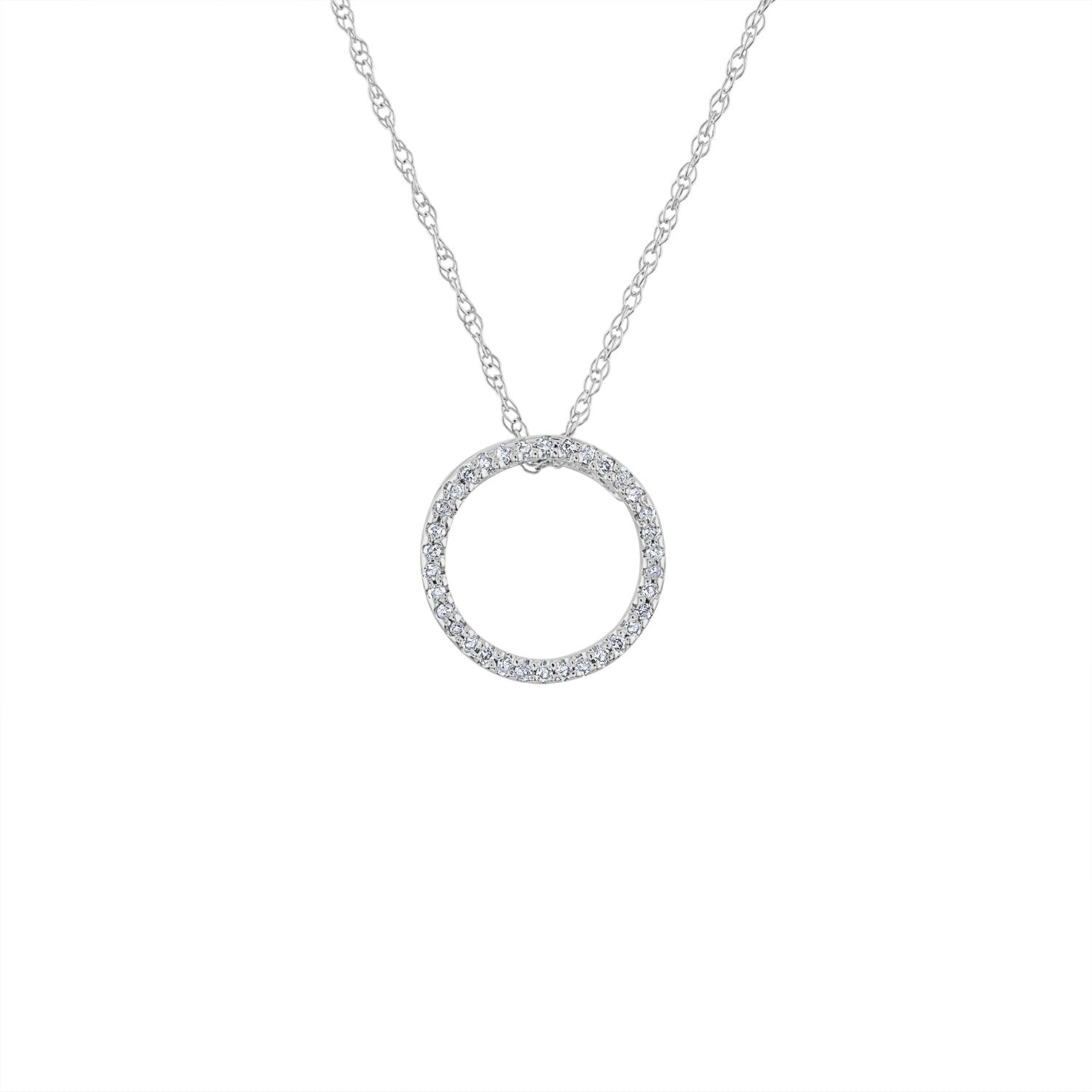 14KT GOLD SMALL DIAMOND OPEN CIRCLE NECKLACE