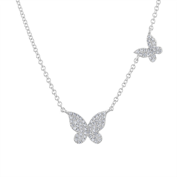 14k White Gold diamond two butterfly necklace