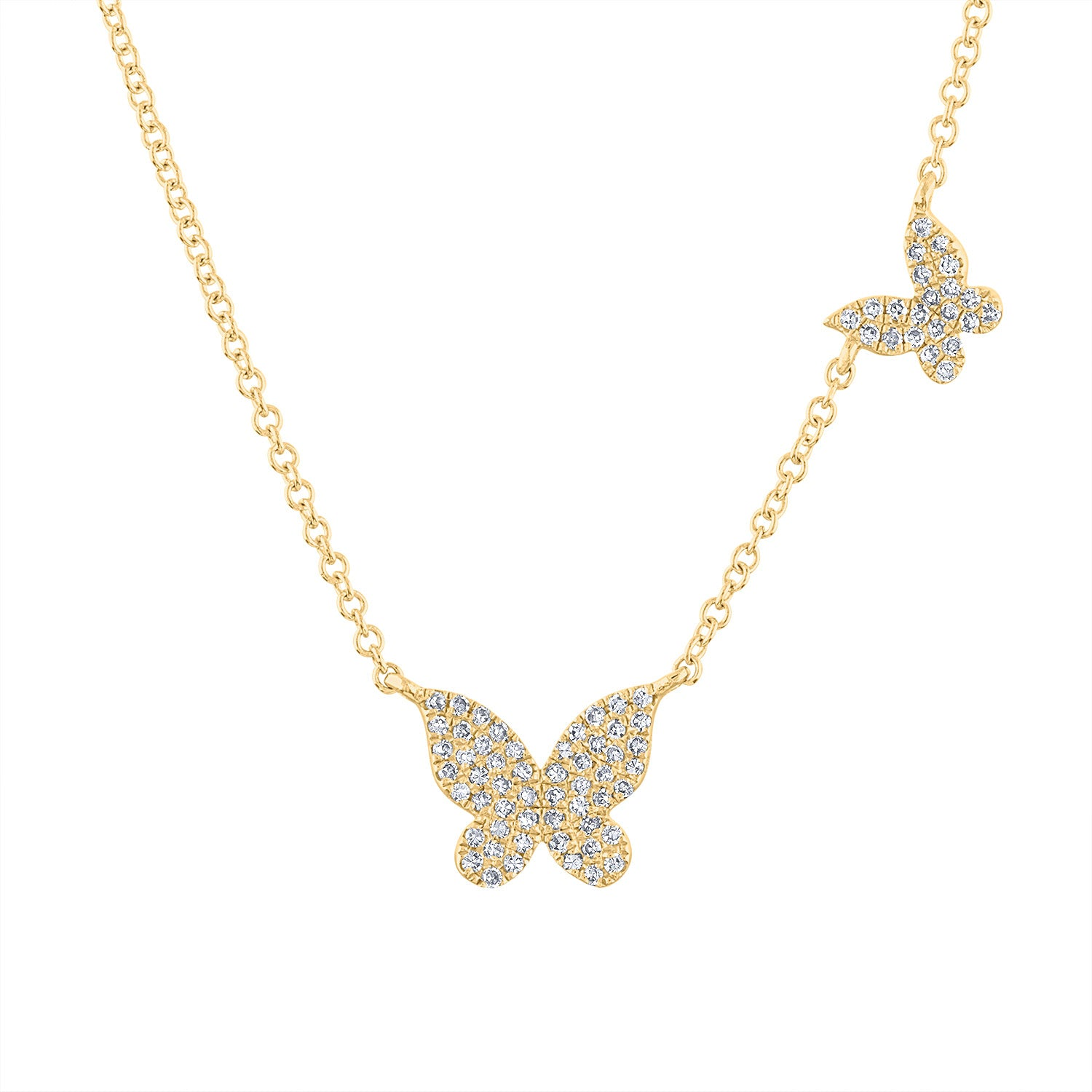 14k  Yellow Gold diamond two butterfly necklace