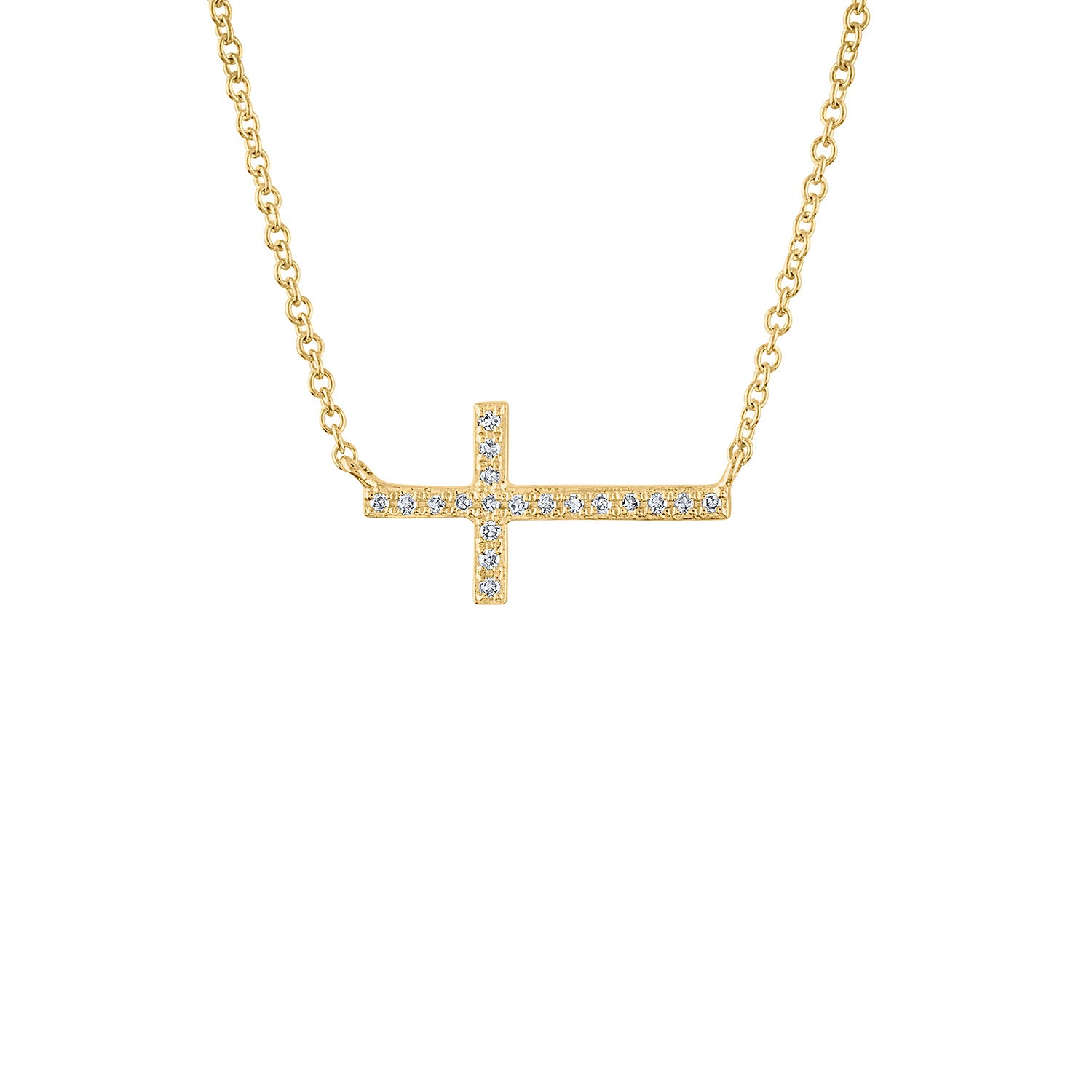 14KT GOLD SIDEWAYS DIAMOND CROSS NECKLACE