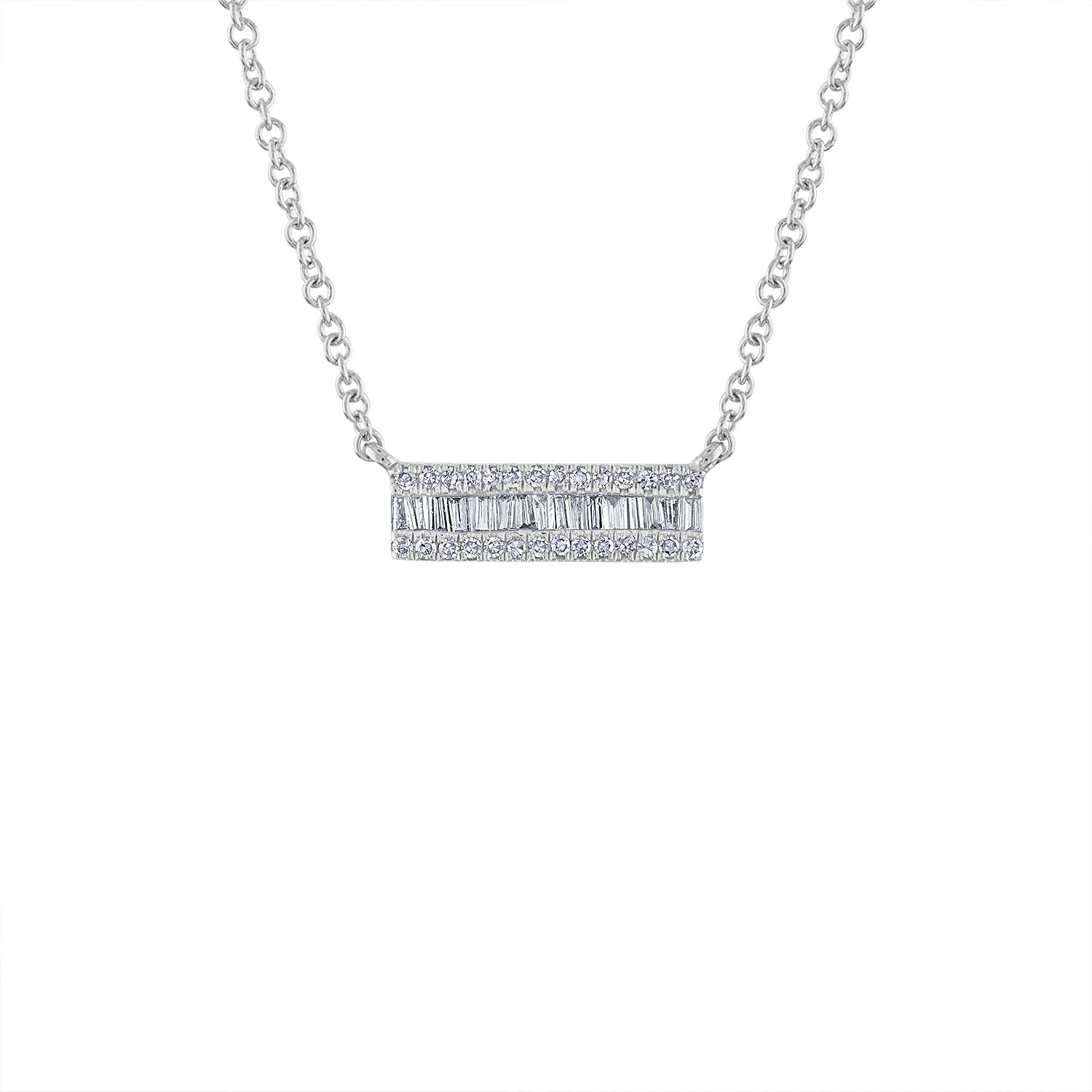 14KT GOLD SMALL DIAMOND BAGUETTE BAR NECKLACE