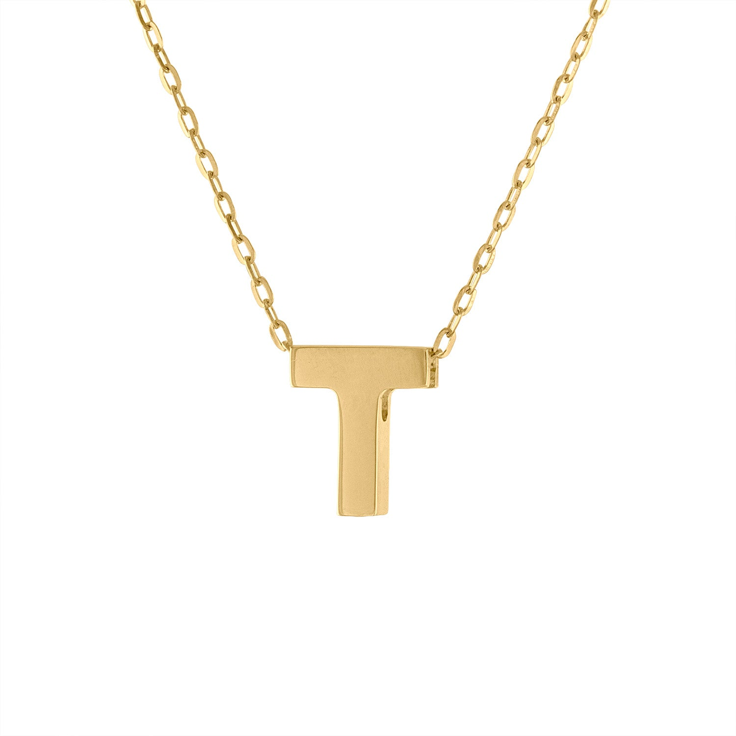 14k Yellow Gold plain initial T necklace