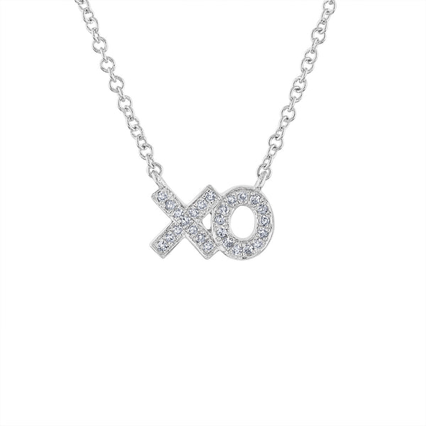 "14KT GOLD DIAMOND MINI ""XO"" NECKLACE"