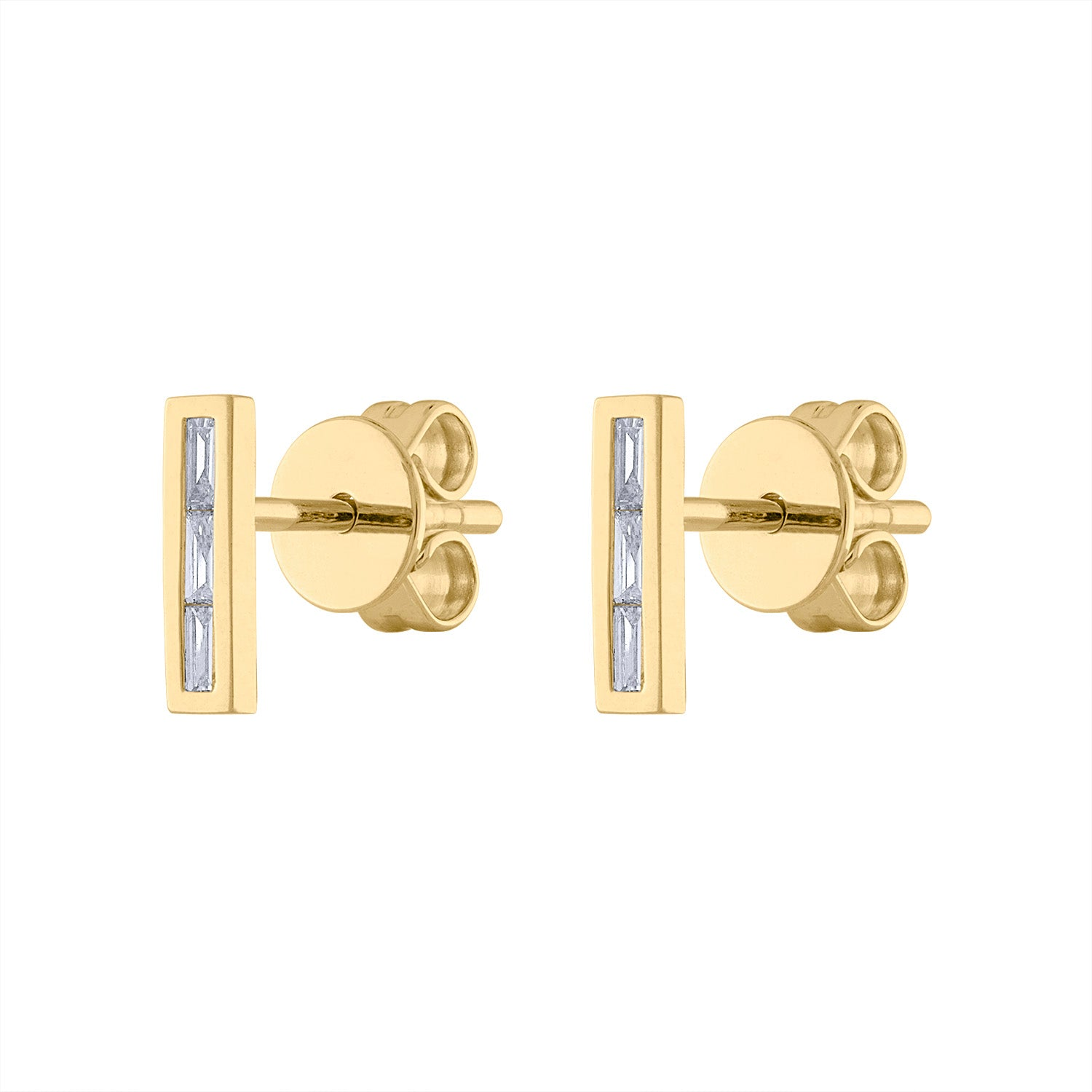 14KT GOLD DIAMOND BAGUETTE BAR EARRING