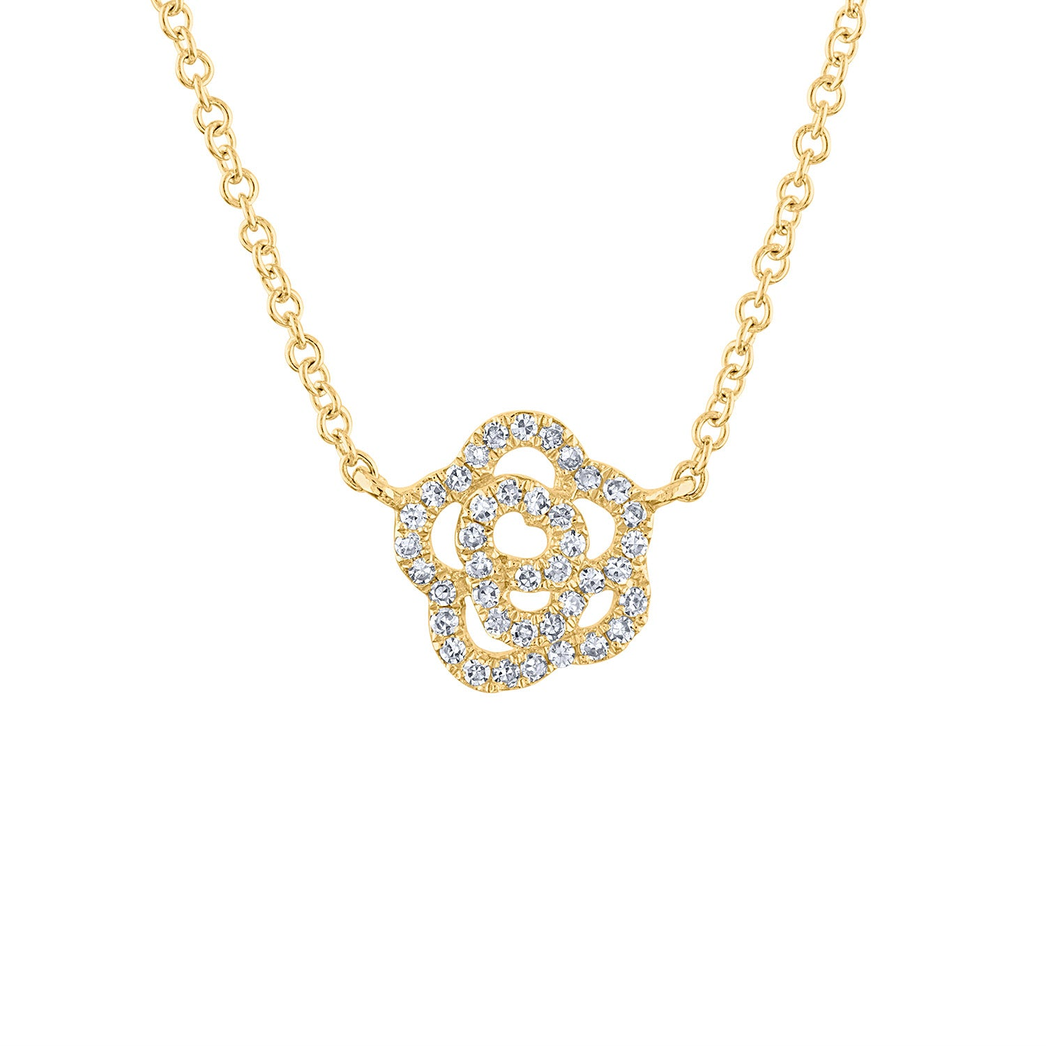 14KT GOLD DIAMOND FLOWER NECKLACE