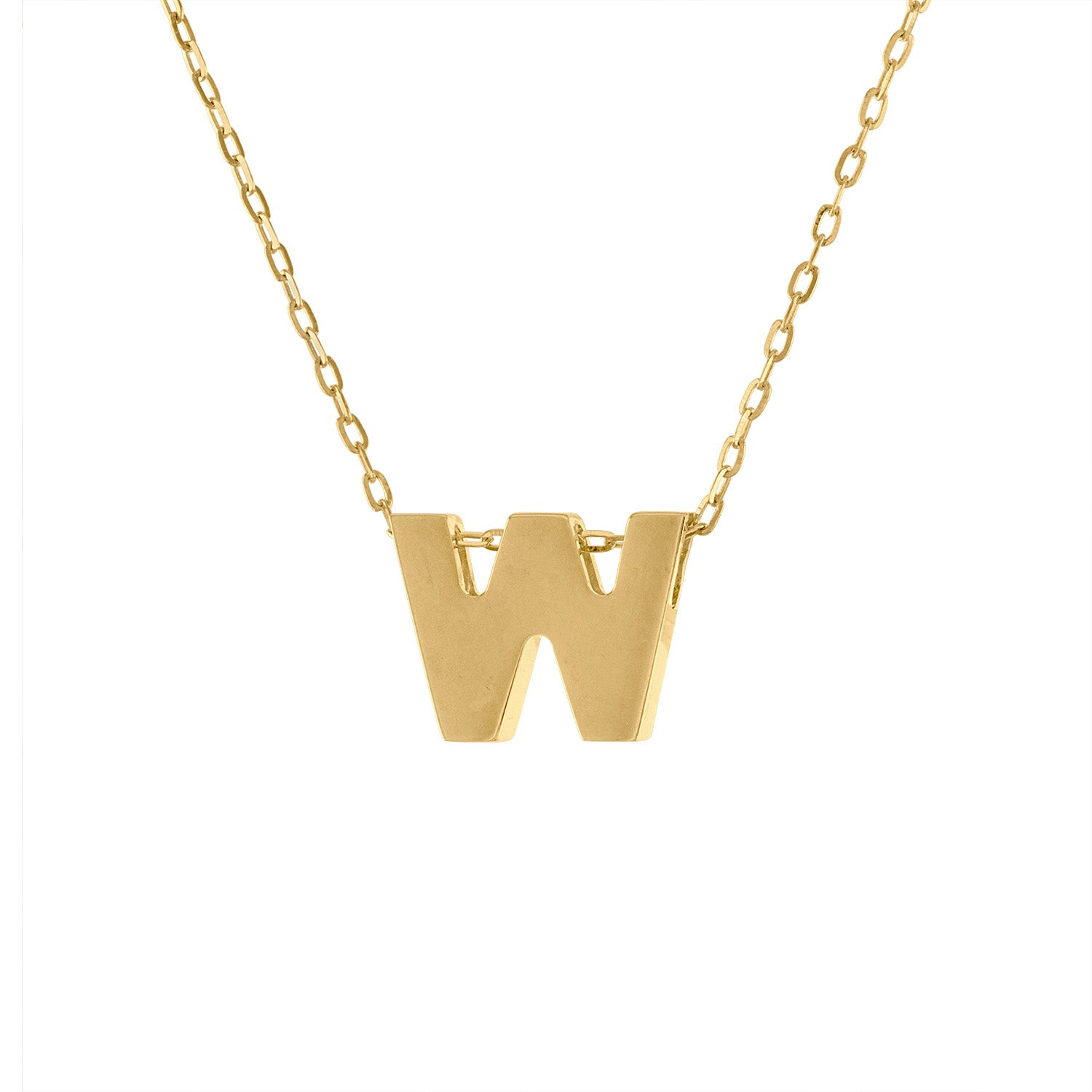 14k Yellow Gold plain initial W necklace