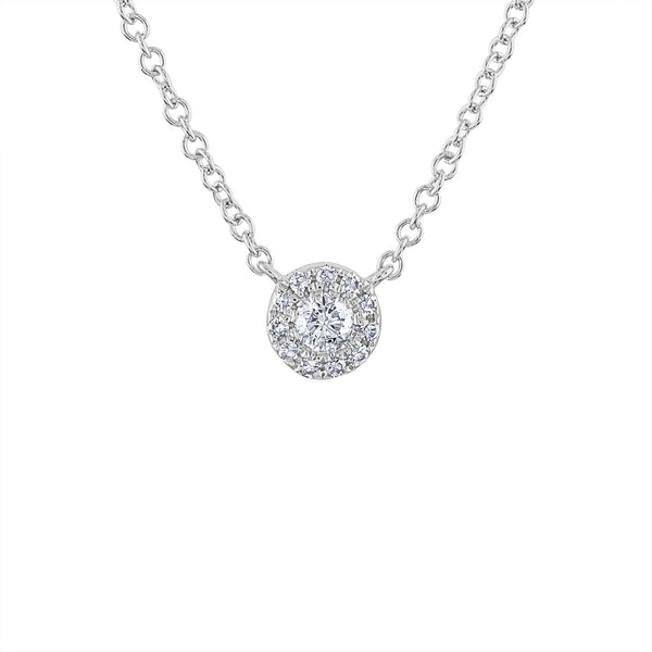 14KT GOLD DIAMOND SINGLE MARTINI SET NECKLACE