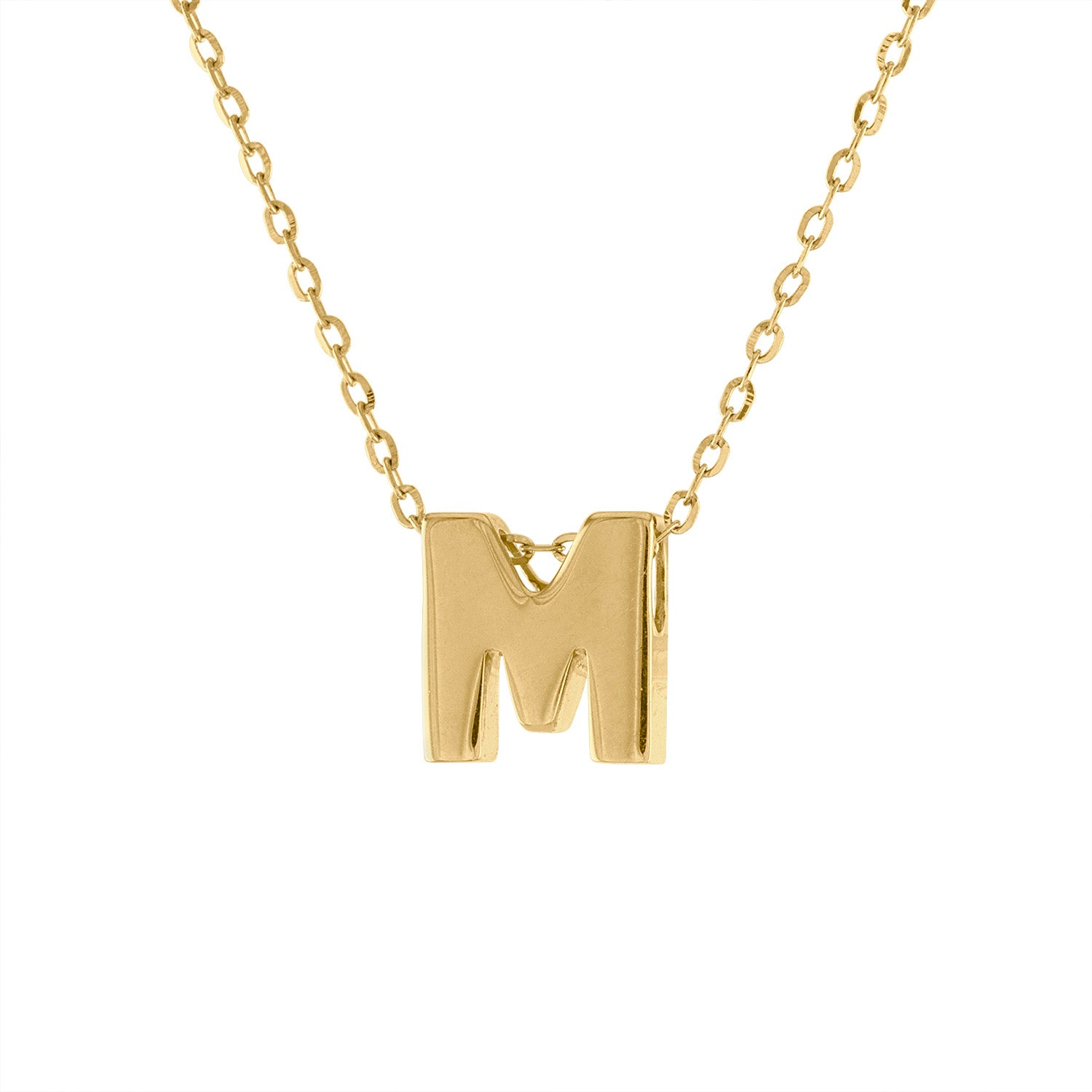 14k Yellow Gold plain initial M necklace