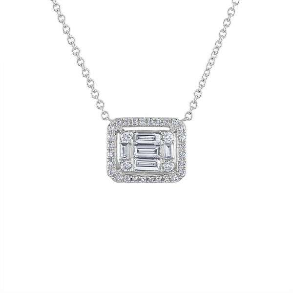 14KT GOLD LARGE DIAMOND BAGUETTE RECTANGLE NECKLACE