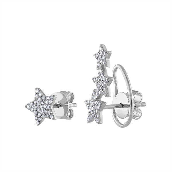 14KT GOLD DIAMOND ASYMMETRICAL STAR EARRING