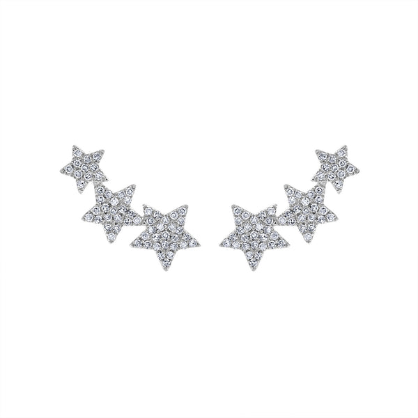 14KT GOLD THREE DIAMOND STARS CLIMBER EARRING