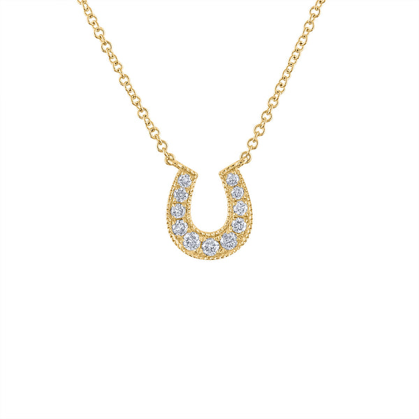 14KT GOLD DIAMOND HORSESHOE NECKLACE
