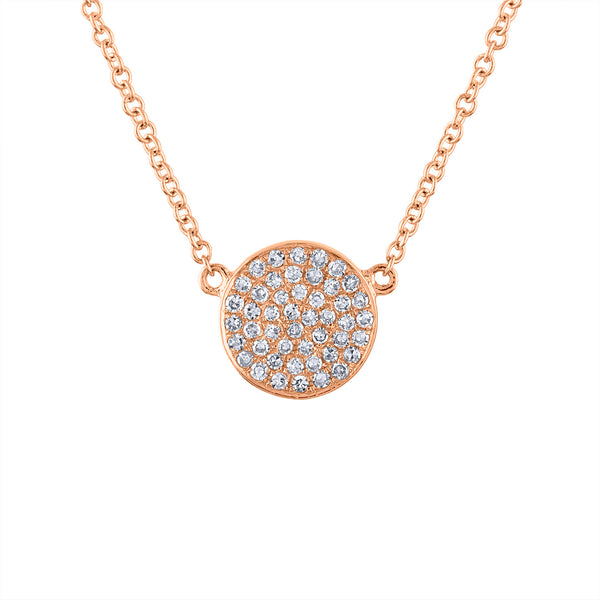 14k Rose Gold small disk pave diamond necklace