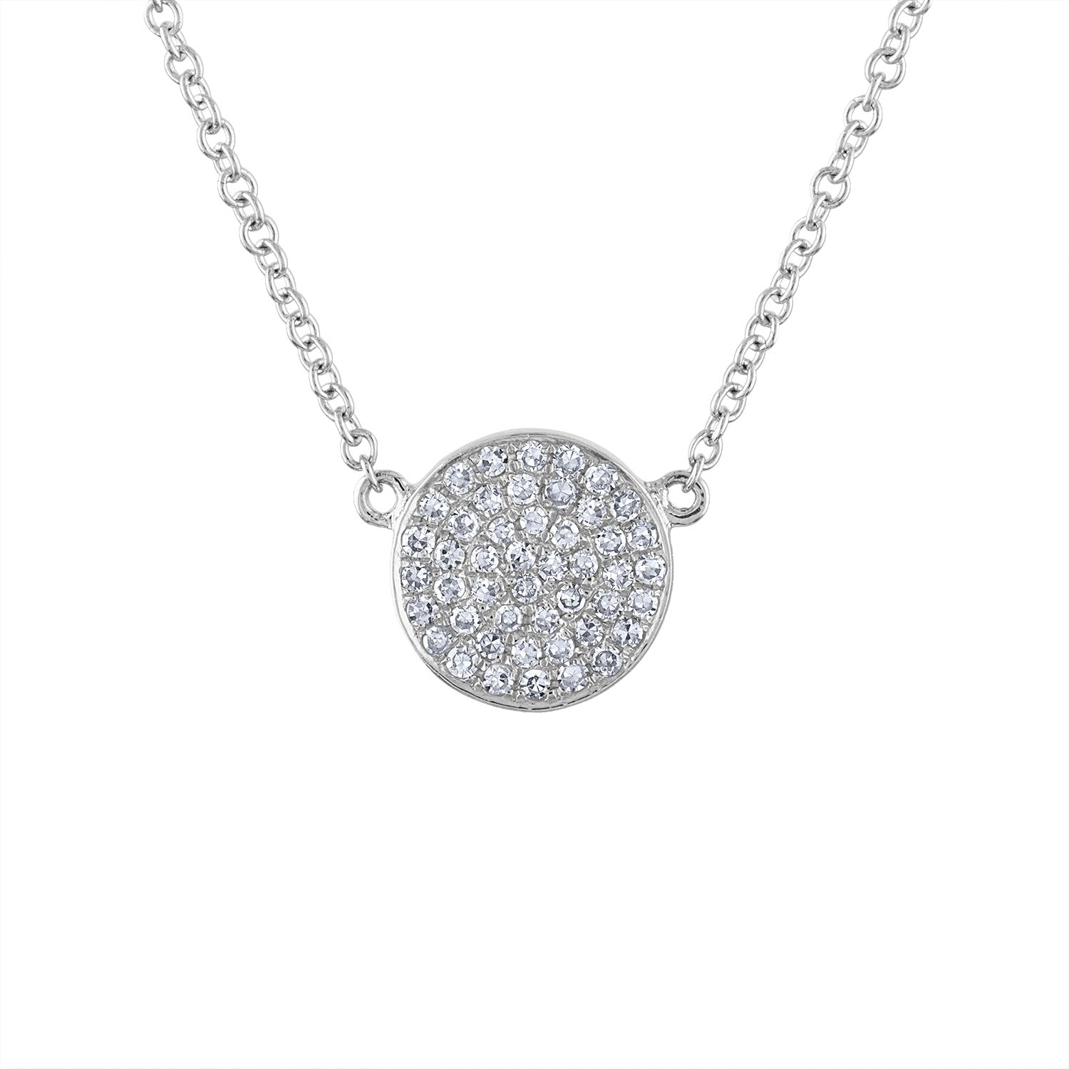 14k White Gold small disk pave diamond necklace
