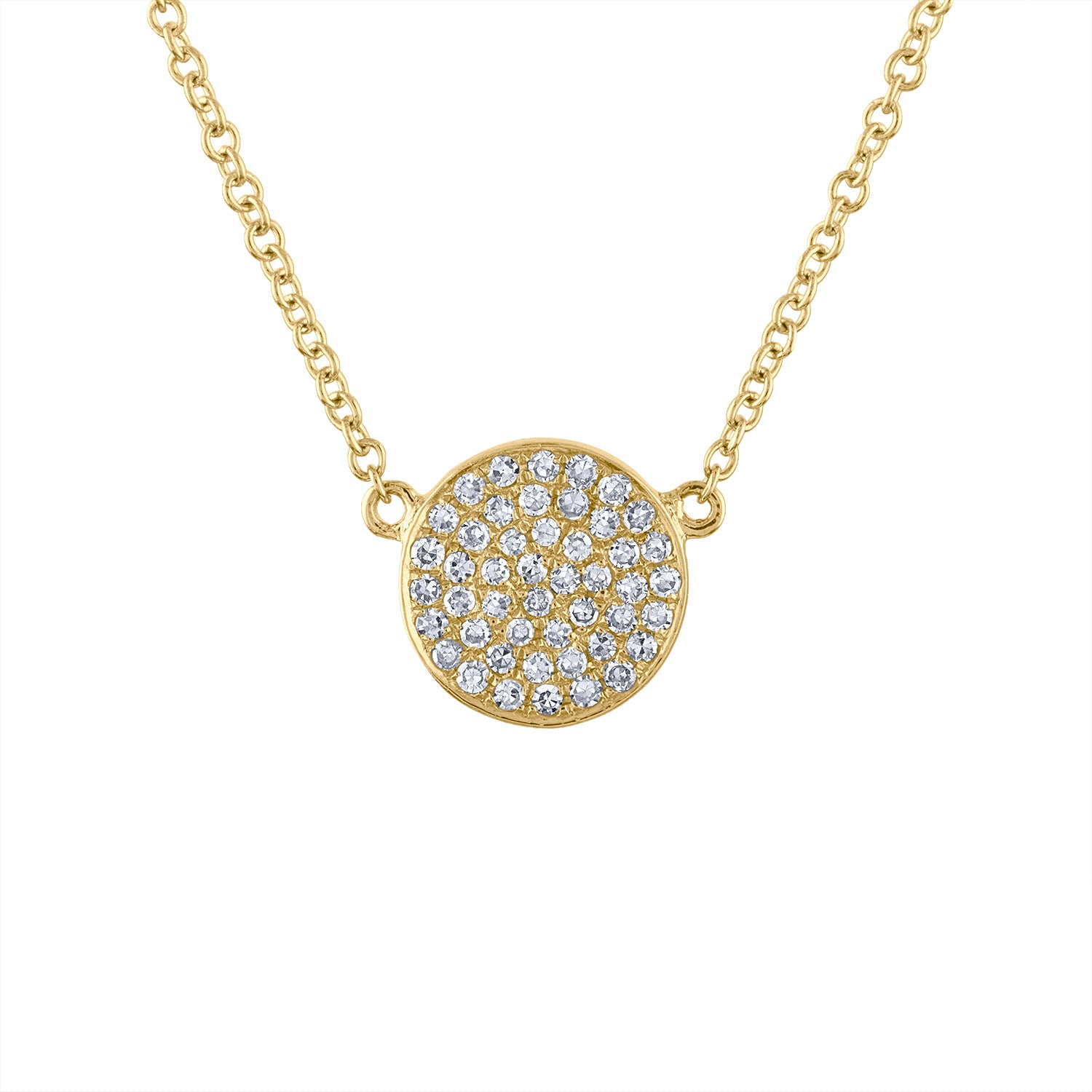 14k Yellow Gold small disk pave diamond necklace