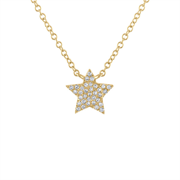 14KT GOLD DIAMOND PAVE STAR NECKLACE