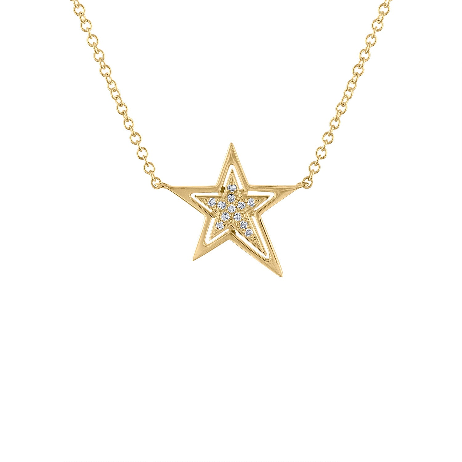 14KT GOLD DIAMOND STAR NECKLACE