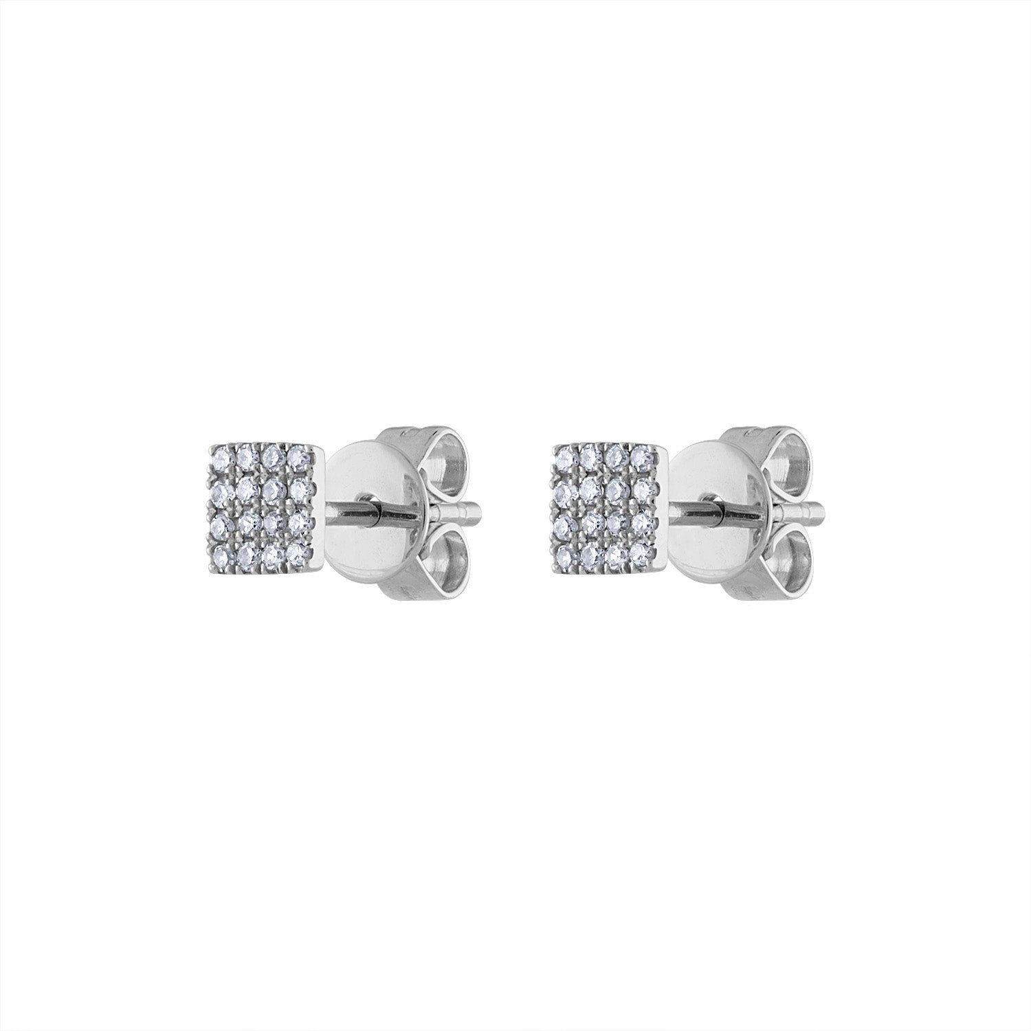 14KT GOLD PAVE DIAMOND MINI SQUARE EARRING