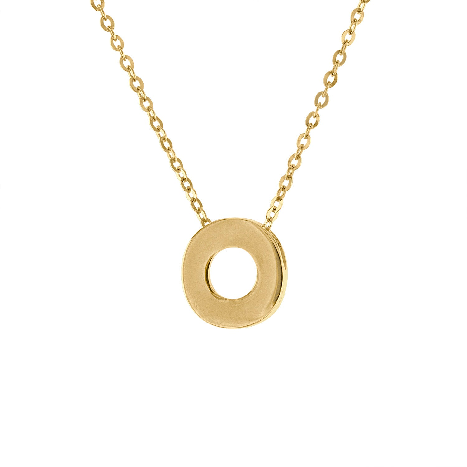 14k Yellow Gold plain initial O necklace