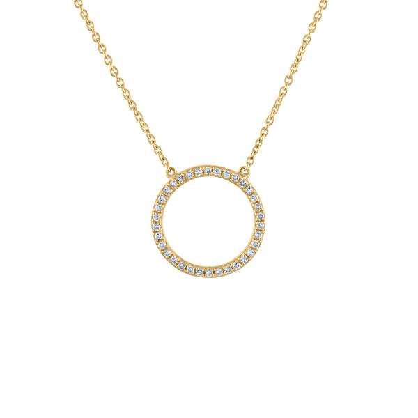 14KT GOLD STATIONERY MEDIUM DIAMOND OPEN CIRCLE NECKLACE
