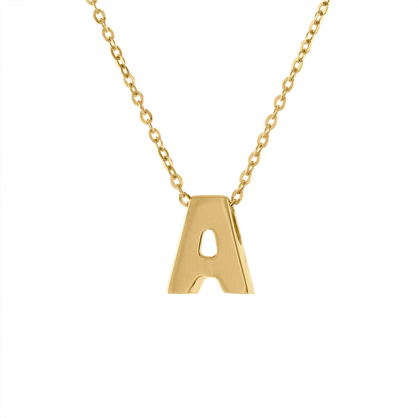 14k Yellow Gold plain initial A necklace