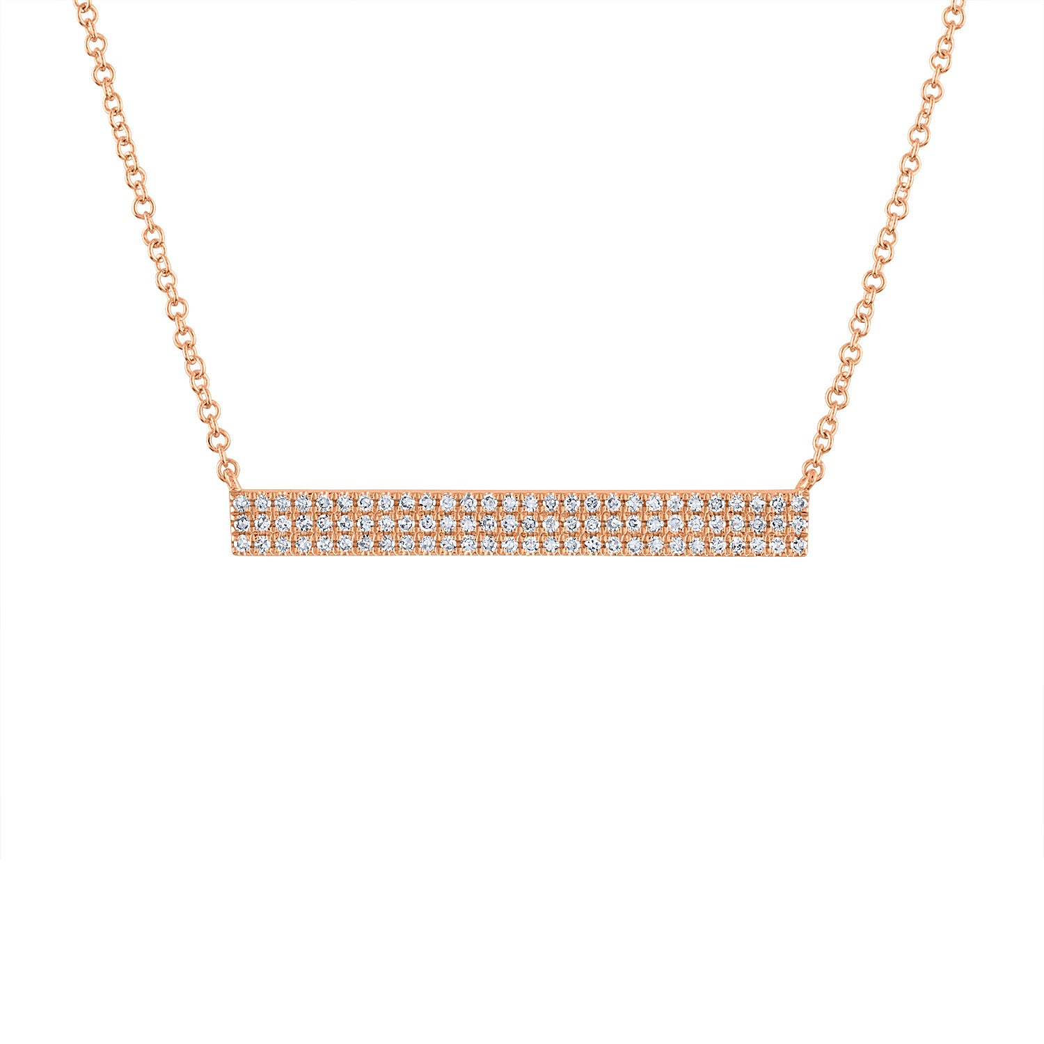 14k Rose Gold diamond 3 row bar necklace