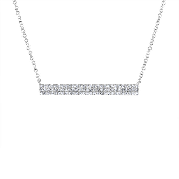 14k White Gold diamond 3 row bar necklace