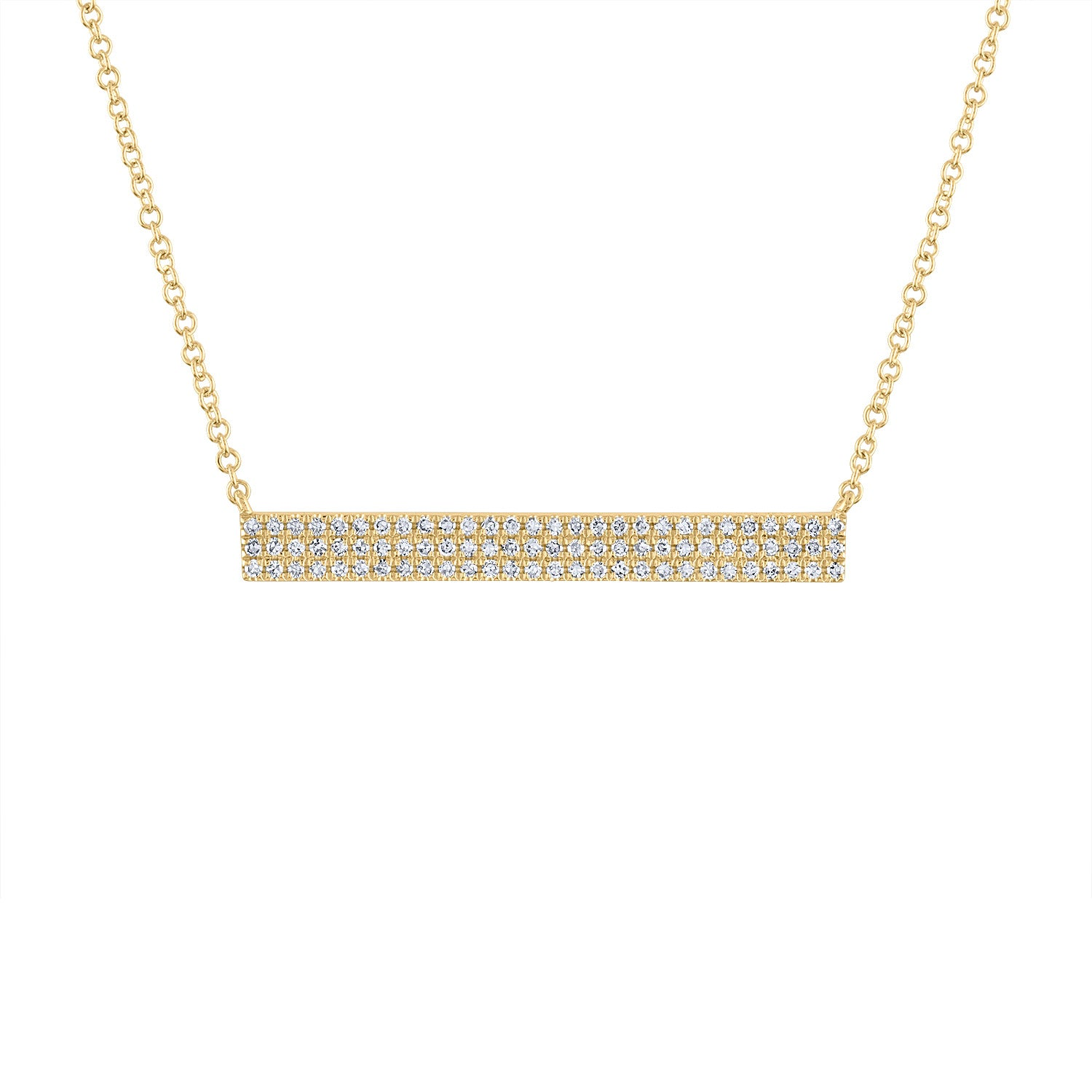 14k Yellow Gold diamond 3 row bar necklace