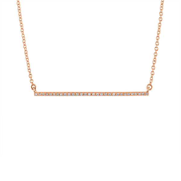 14k Rose Gold diamond thin bar necklace