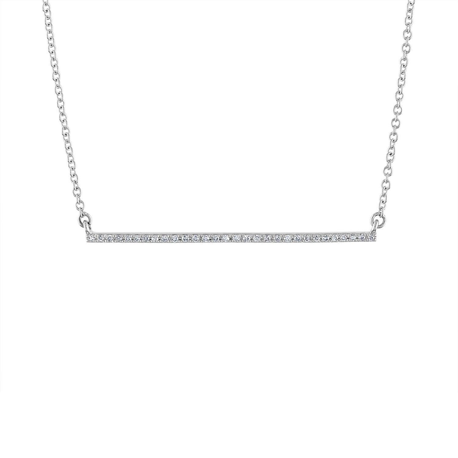 14k White Gold diamond thin bar necklace