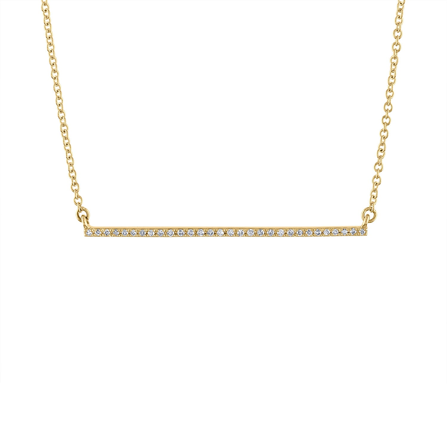 14k Yellow Gold diamond thin bar necklace