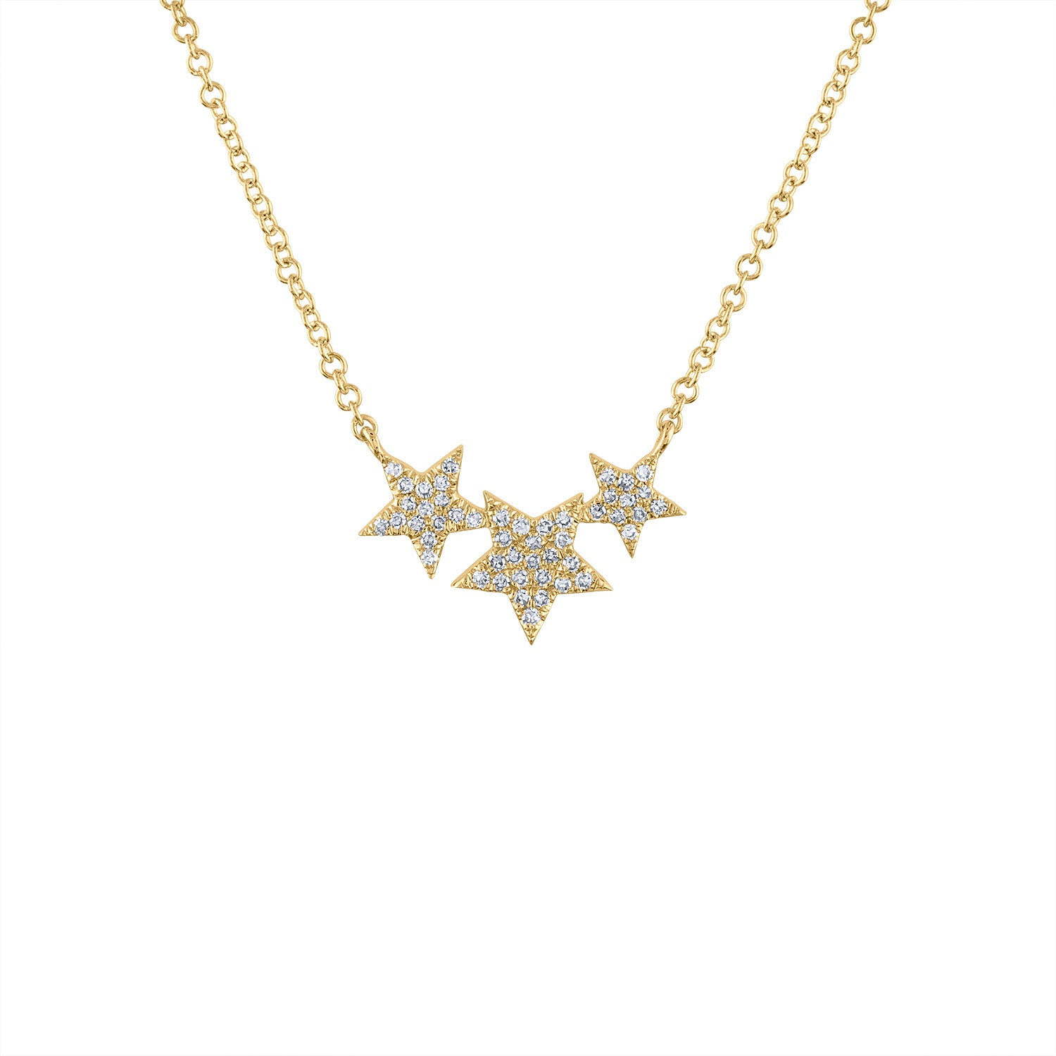 14KT GOLD DIAMOND THREE STAR NECKLACE
