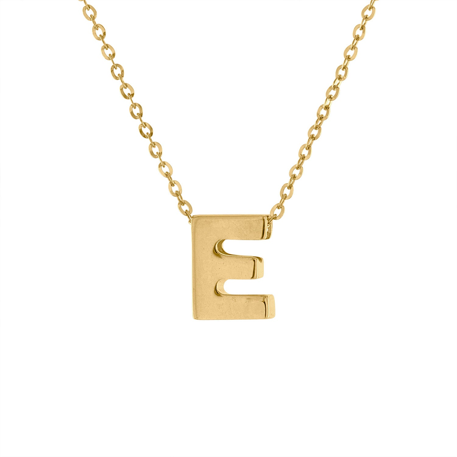 14k Yellow Gold plain initial E necklace