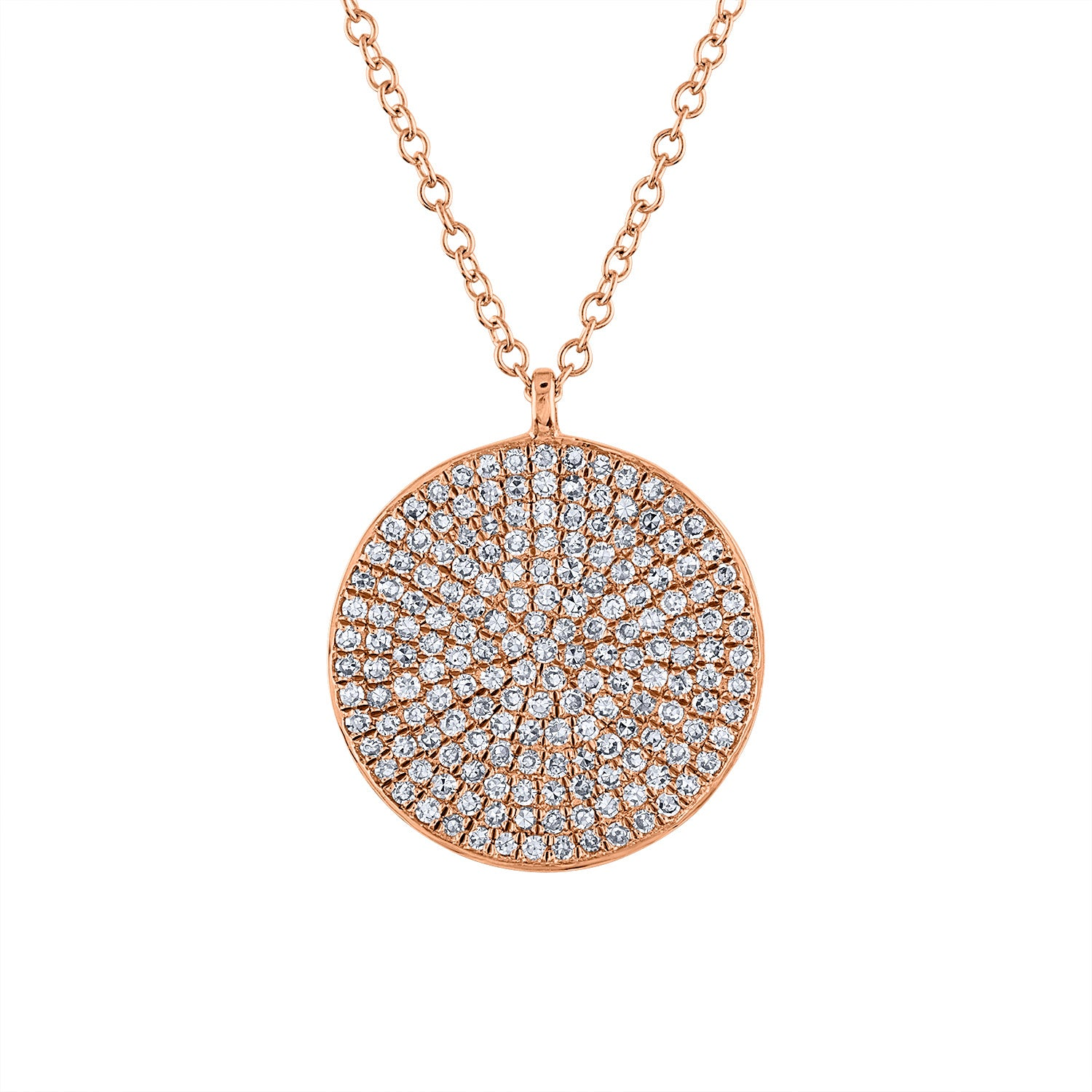 14k Rose Gold diamond large pave disk necklace