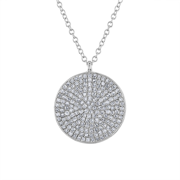14k White Gold diamond large pave disk necklace