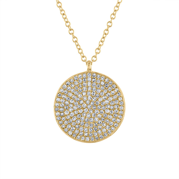 14k Yellow Gold diamond large pave disk necklace