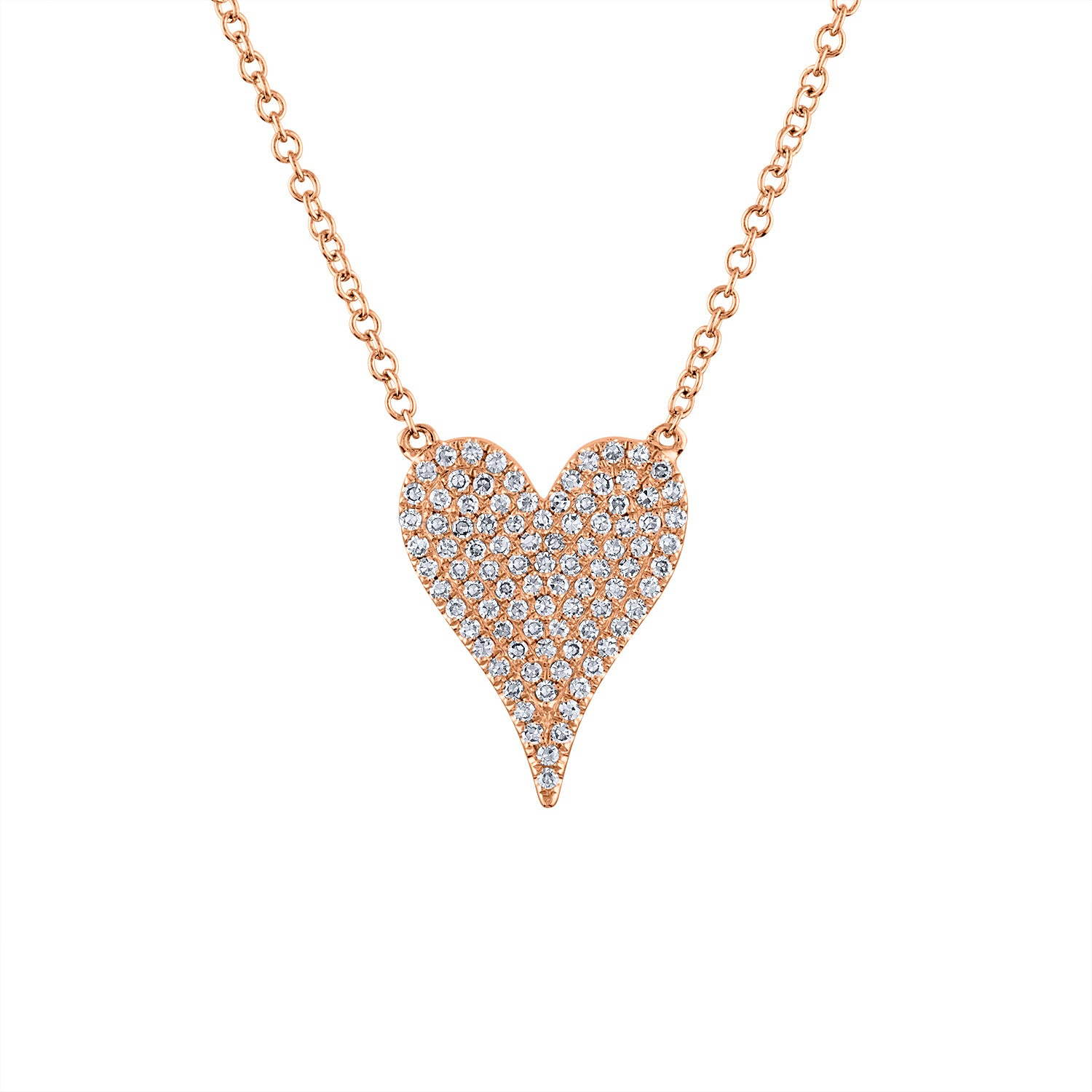 14k Rose Gold medium modern heart diamond necklace