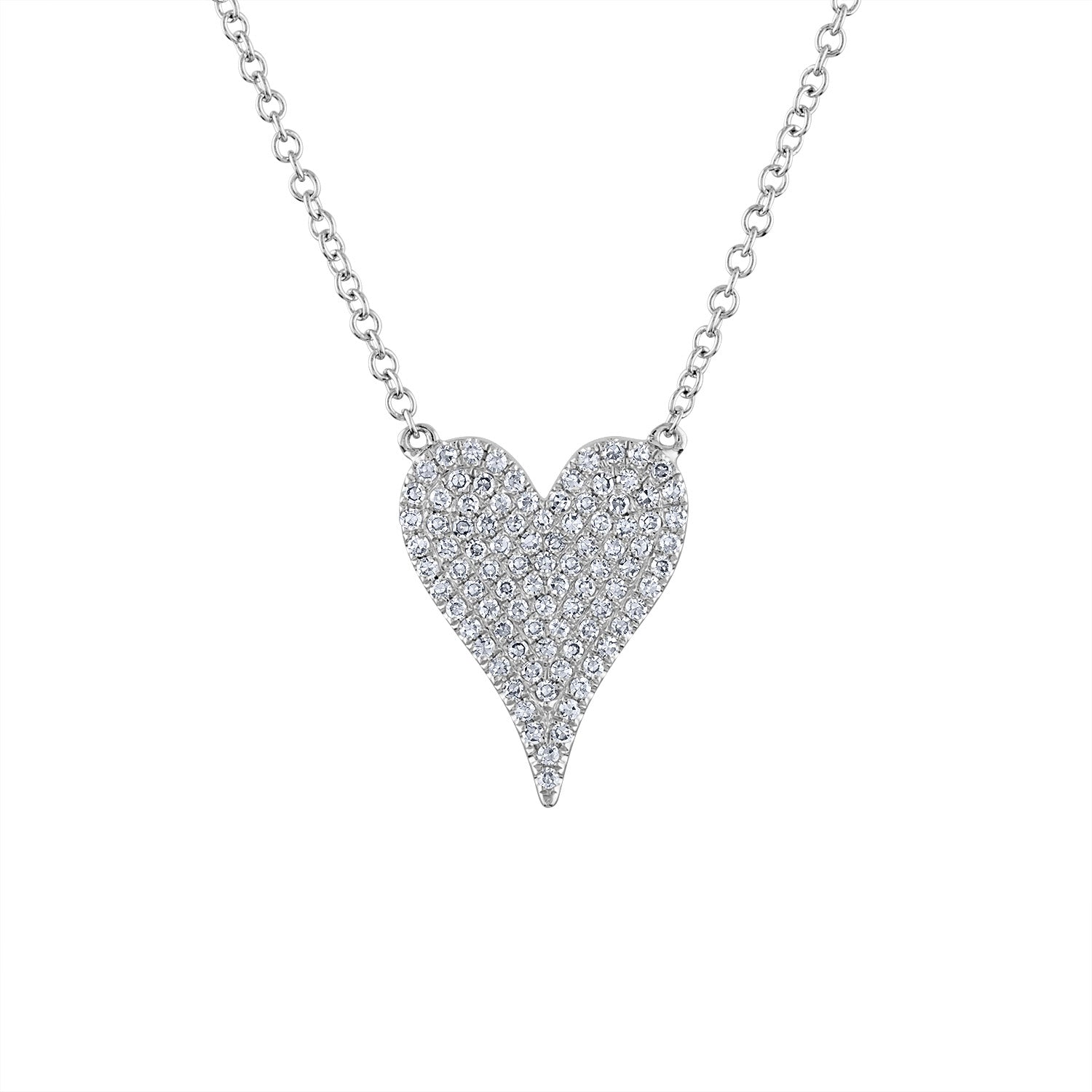 14k White Gold medium modern heart diamond necklace