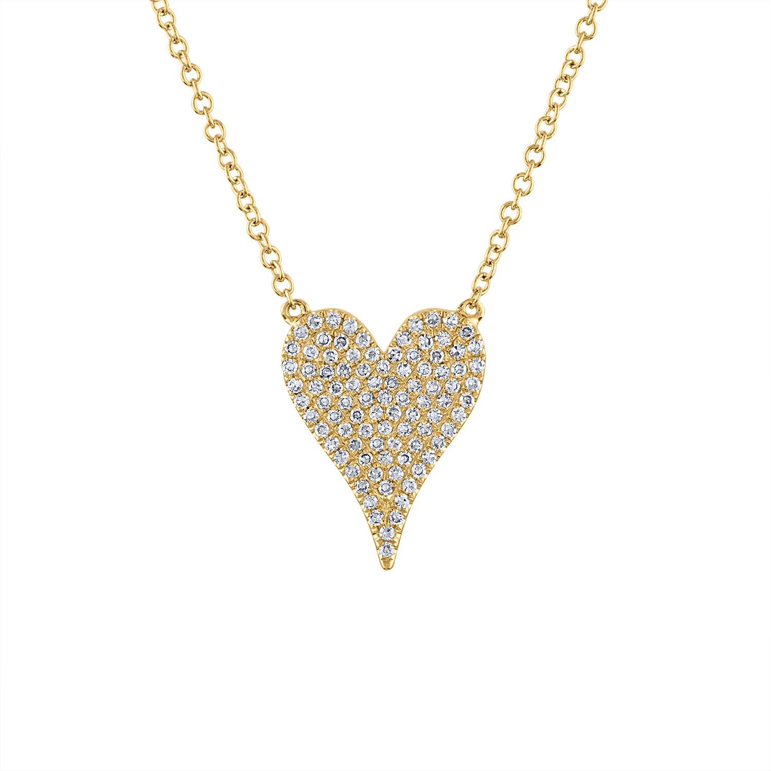 14k Yellow Gold medium modern heart diamond necklace