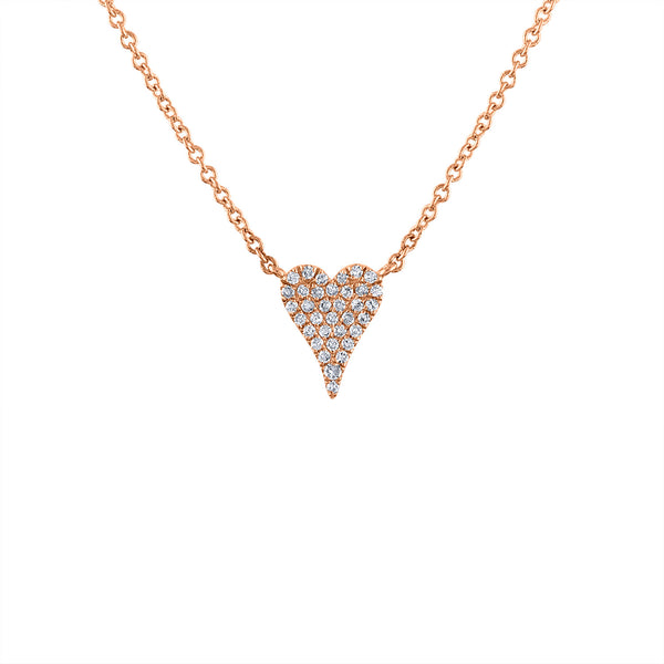 14K Rose Gold mini modern heart diamond necklace