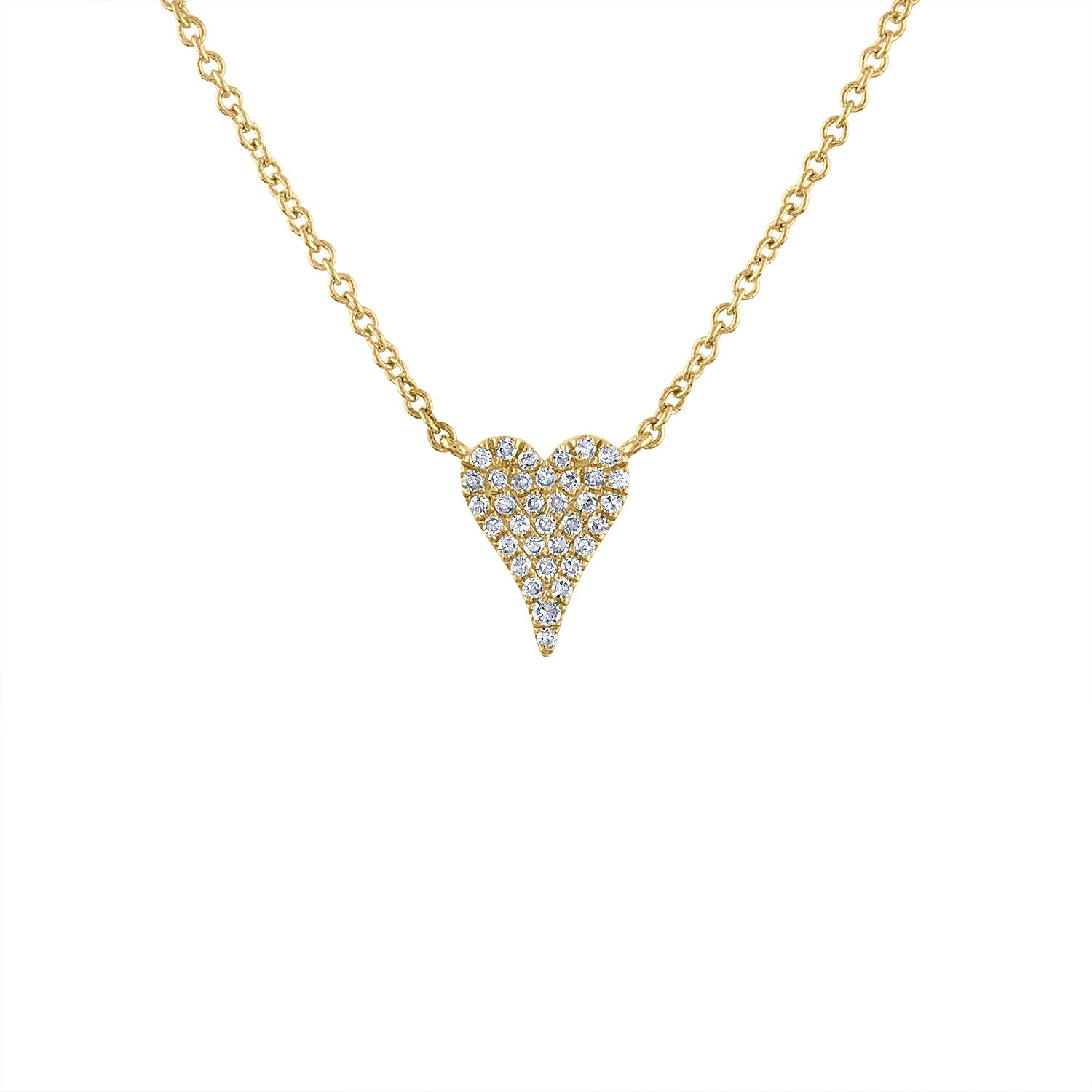 14K Yellow Gold mini modern heart diamond necklace
