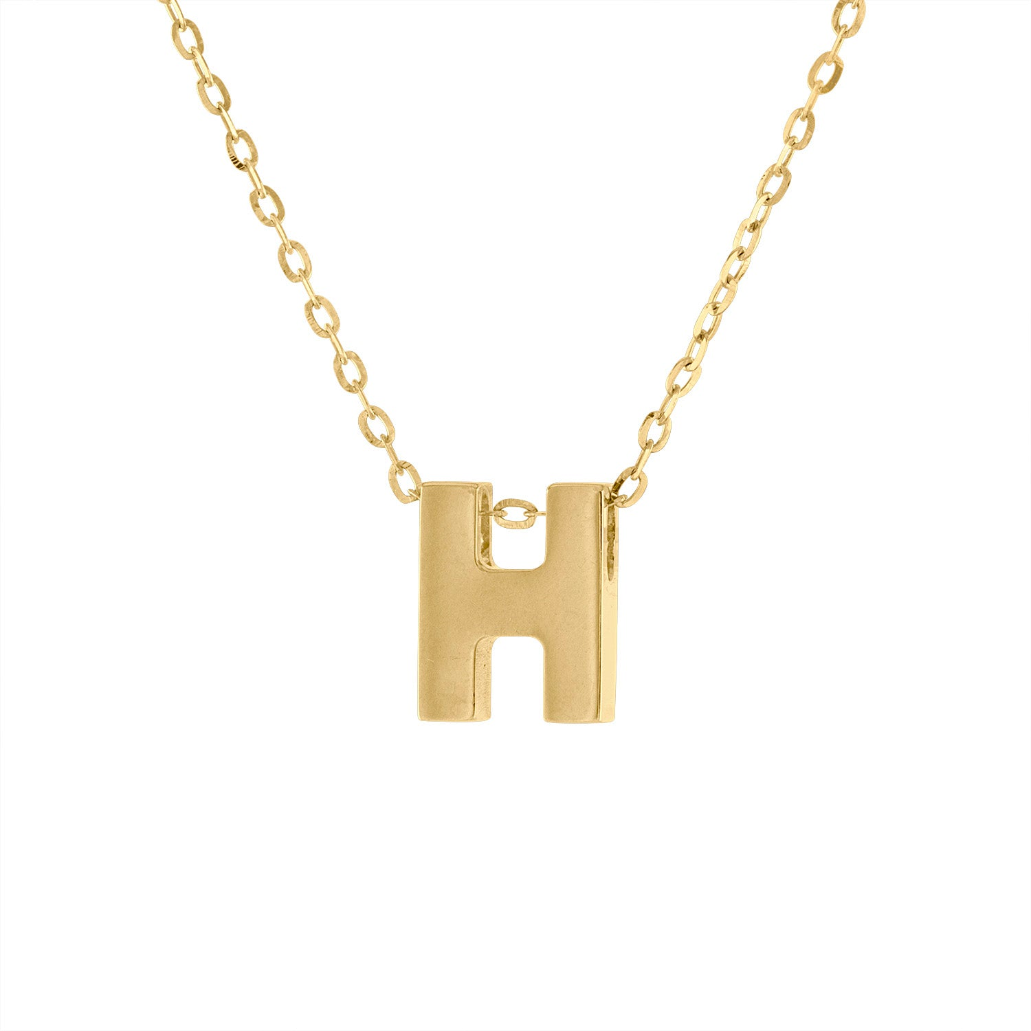 14k Yellow Gold plain initial H necklace