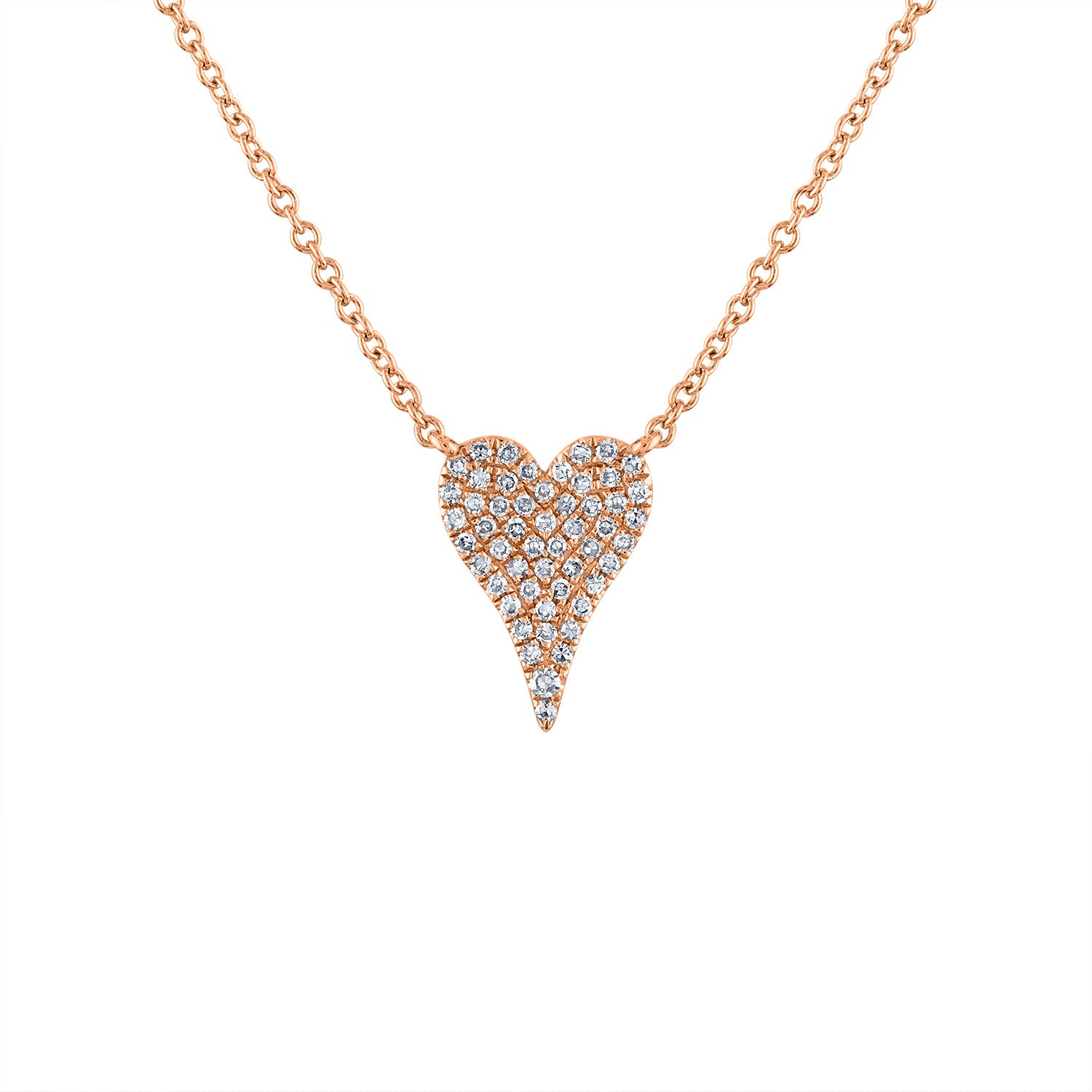 14k Rose Gold small modern heart diamond necklace